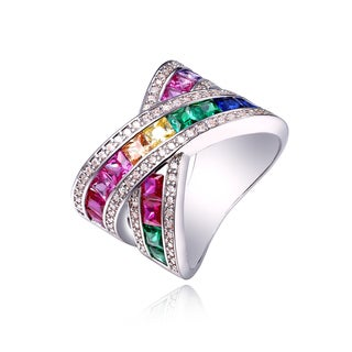 Rhodium Plated and Rainbow Crystal X Ring - Pink