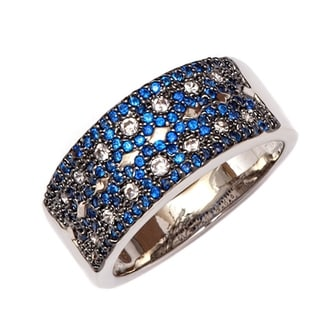 Peermont Jewelry 18k White Goldplated and Sapphire CZ Eternity Ring