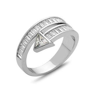 18K White Goldplated and CZ Arrow Ring