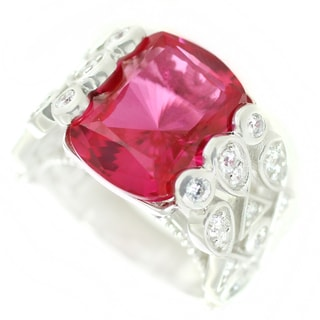 One-of-a-kind Michael Valitutti Ruby Doublet and White Zircon Cocktail Ring