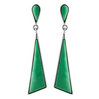 Sterling Silver and Variscite Triangle Drop Earrings