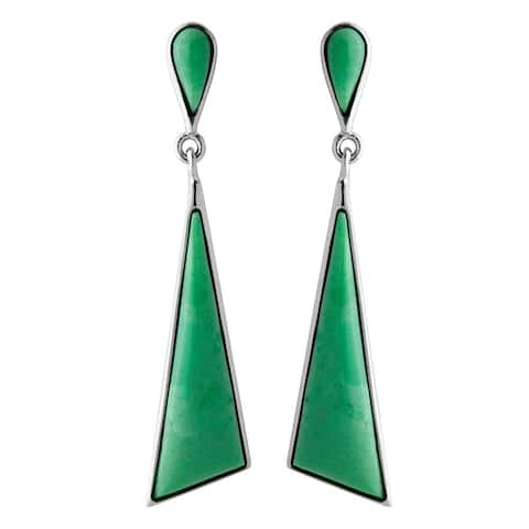 Sterling Silver and Variscite Triangle Drop Earrings - Green