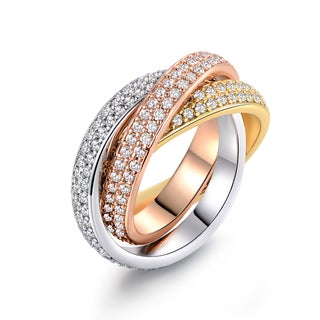 Three-Tone 18k gold & CZ Rolling Ring