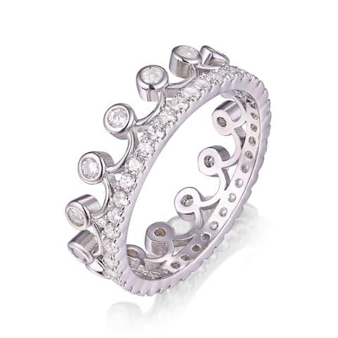 Rhodium Plated Crystal Princess Crown Ring - White