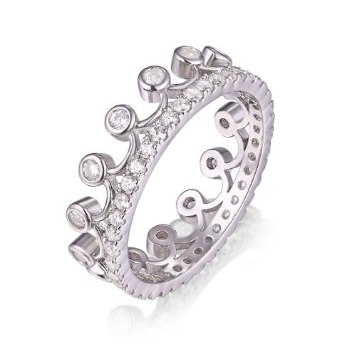 Rhodium Plated Crystal Princess Crown Ring - White