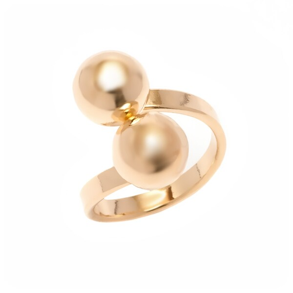 Goldplated Double Ball Cuff Ring. Opens flyout.