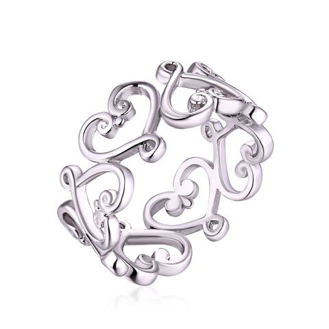 Heart-shaped Rhodium Plated Ring