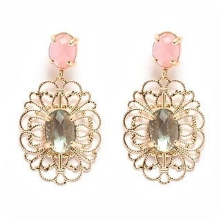 Goldplated Crystal and Simulated Jade Filigree Cut-out Drop Earrings