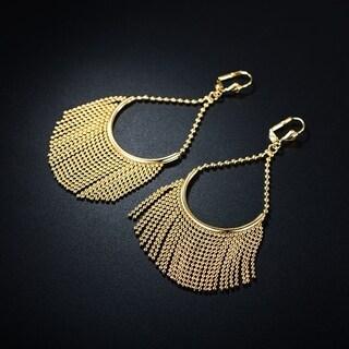 18K Goldplated Gold Ball-Link Teardrop Dangling Earrings