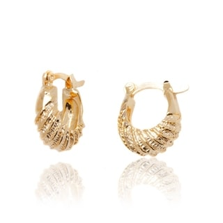 18k Goldplated Striped Hoop Earrings