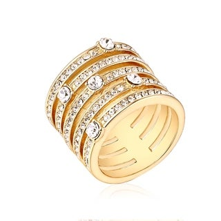 18k Goldplated Brass Cubic Zirconia 5-row Statement Ring