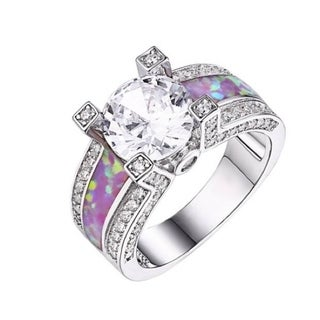 18k White Goldplated Pink Opal and CZ Engagement Ring