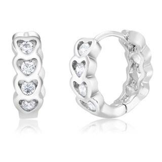 Rhodium-plated Cubic Zirconia Hearts Huggie Earrings