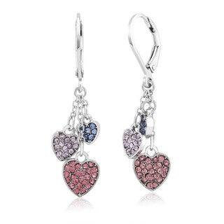 Rhodium-plated Brass Crystal Hearts Dangling Earrings