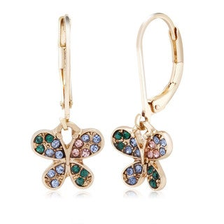 Yellow Goldplated Crystal Butterfly Dangling Earrings