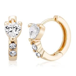 Yellow Goldplated Brass Cubic Zirconia Heart Hoop Earrings