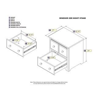 Atlantic Windsor Walnut 2-drawer Night Stand