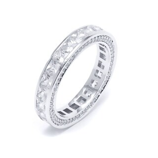 18K White Goldplated Brass and 1ct. Cubic Zirconia Princess-Cut Eternity Ring