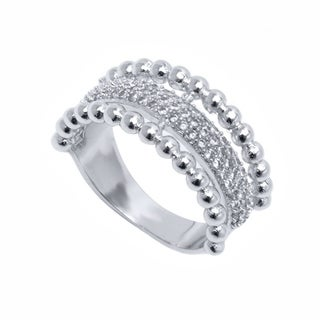 Peermont Jewelry 18k White Goldplated and CZ Half Face Stone Ring