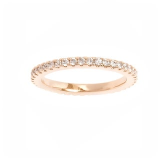 Goldplated Round-cut Cubic Zirconia Accents Eternity Ring