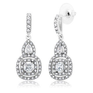 White Rhodium-plated Brass Cubic Zirconia Chandelier Dangling Earrings