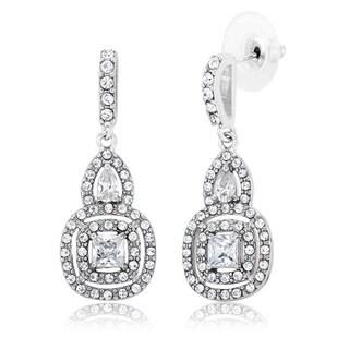 White Rhodium-plated Brass Cubic Zirconia Chandelier Dangling Earrings