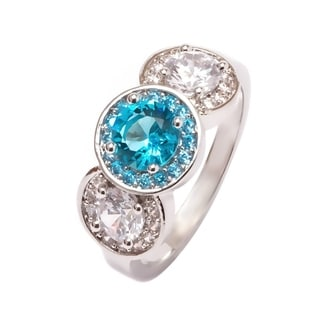 Rhodium Plated Aqua and White Cubic Zirconia Triple Circle Ring