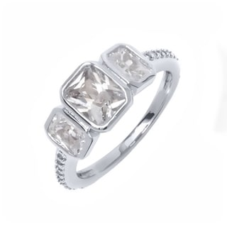 18K White Goldplated Brass Princess-Cut Cubic Zirconia Eternity Ring