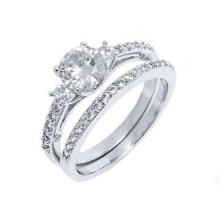 18k White Goldplated Silver Round-cut Cubic Zirconia Engagement Ring