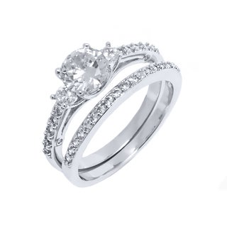 Rhodium Plated Silvertone Round-cut Cubic Zirconia Engagement Ring