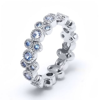 Rhodium Plated and Aqua Cubic Zirconia Eternity Band