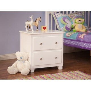 Atlantic White Wood 2-drawer Night Stand