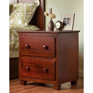 Atlantic Walnut Wood 2-drawer Nightstand