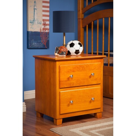 Atlantic Caramel Latte Solid Hardwood 2-drawer Nightstand