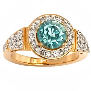 Peermont Jewelry 18k Yellow Goldplated Round-cut Aqua Cubic Zirconia Ring