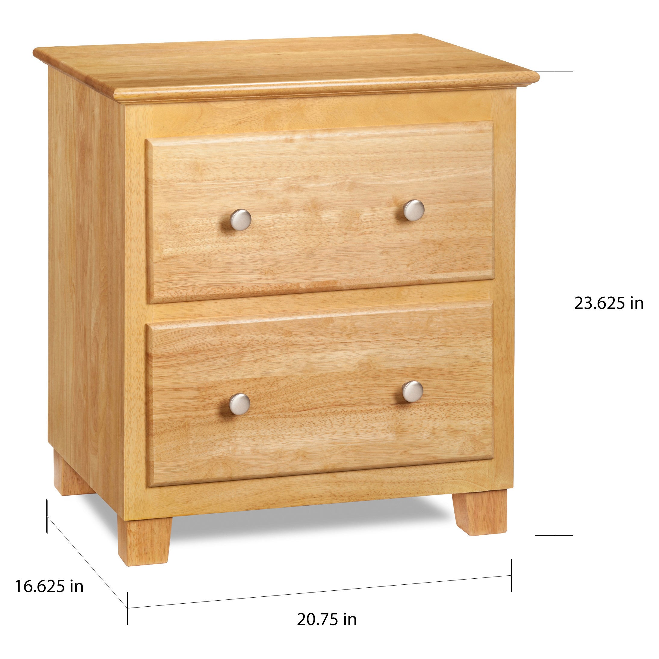 Atlantic Natural Maple Wood 2 Drawer Night Stand