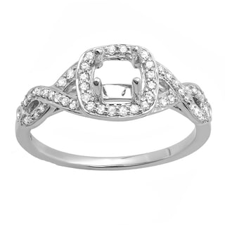 14k White Gold 1/4ct TDW Round Diamond Swirl Engagement Semi-mount Ring (I-J, I1-I2)