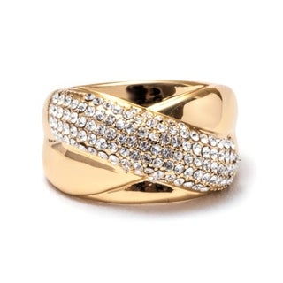 Peermont Jewelry 18k Goldplated Brass Cubic Zirconia Crisscross Ring