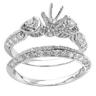 14k White Gold 1 1/5ct TDW Diamond 3-stone Semi-mount Bridal Engagement Ring Set (H-I, I1-I2)