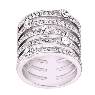 18k White Goldplated Brass 5-row Statement Ring