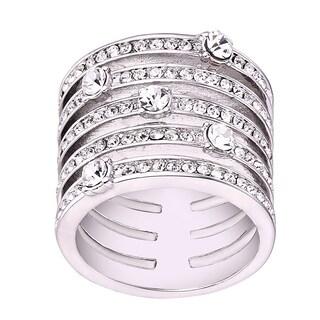 Rhodium Plated Brass 5-row Statement Ring