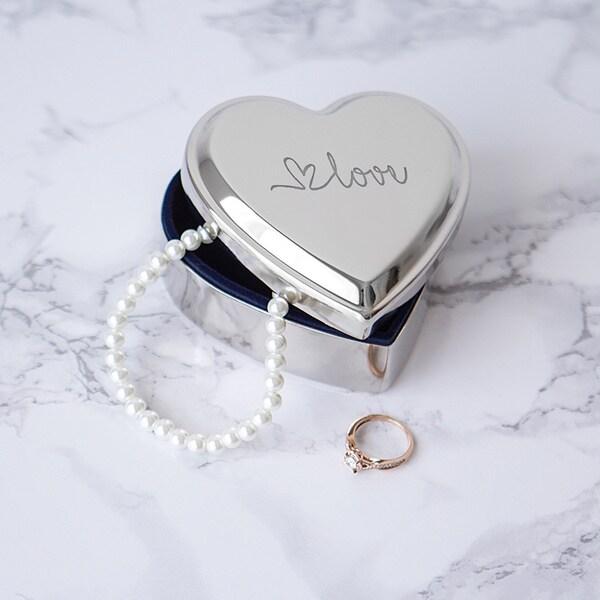 Love Silver Metal Heart-shape Keepsake Box