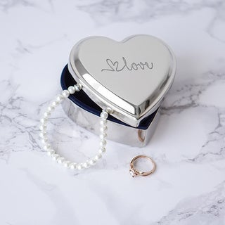 Love Silver Metal Heart-shape Keepsake Box