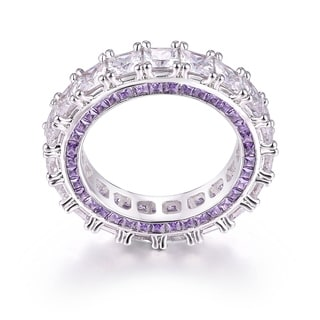 Rhodium Plated Brass and Princess-cut Cubic Zirconia Eternity Band