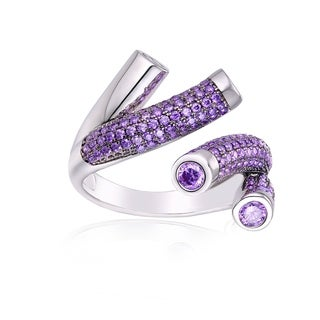 Peermont Jewelry 18k White Goldplated Amethyst CZ Swirl Open Ring