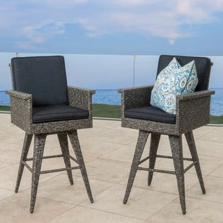 Puerta Outdoor Wicker Barstool with Cushions (Set of 2) by Christopher Knight Home