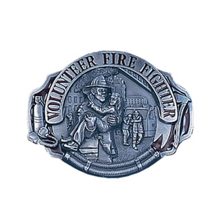 Volunteer Fire Fighter Enameled Metal Belt Buckle