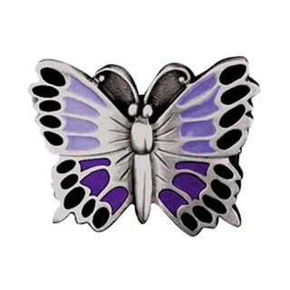 Purple Butterfly Metal Enamel Belt Buckle