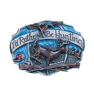 I'd Rather Be Hunting Blue and Grey Enameled Metal Belt Buckle