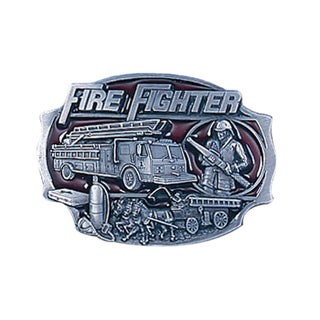 Firefighter Enameled Metal Belt Buckle